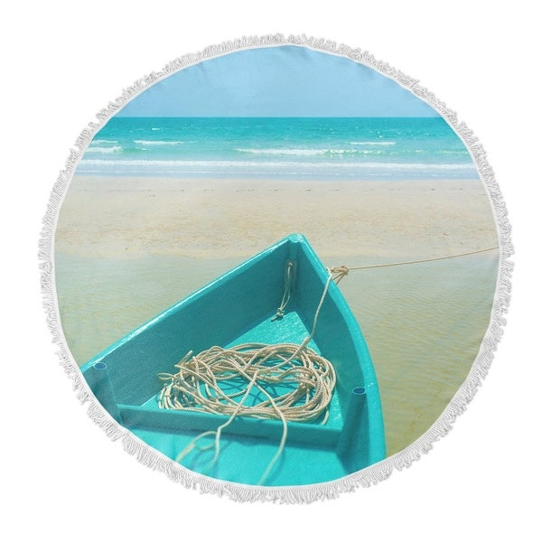 "Kavka Designs To Sea Blue/ Sand/ Beige 60""X60"" Round Beach Towel"