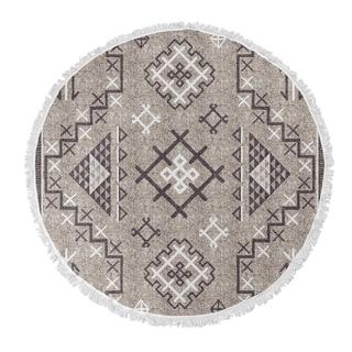 "Kavka Designs Aztec Beige/ Purple 60""X60"" Round Beach Towel"