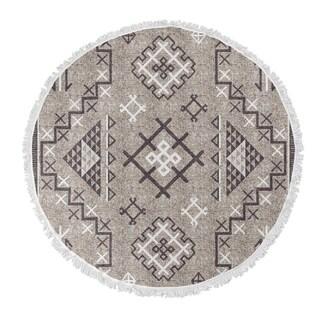 """Kavka Designs Aztec Beige/ Purple 60""""X60"""" Round Beach Towel"""