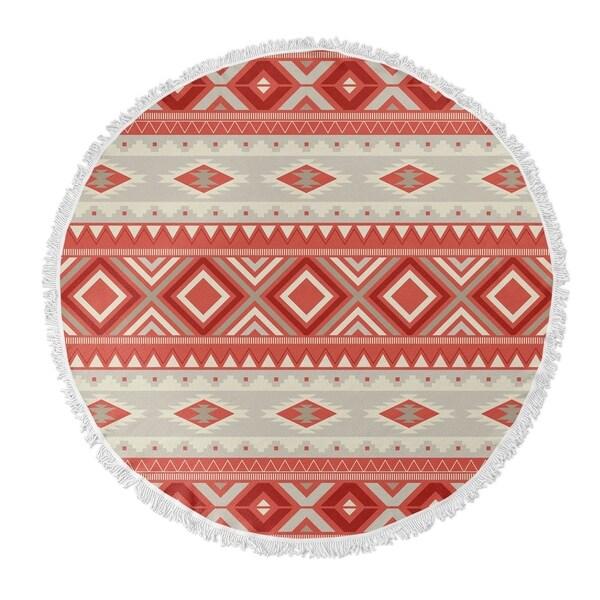 "Kavka Designs Red/ Tan 60""X60"" Round Beach Towel"