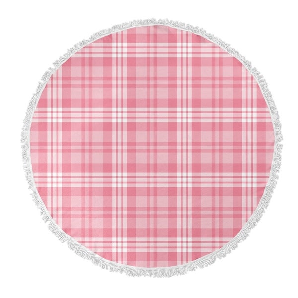 "Kavka Designs Be Mine Plaid Pink 60""X60"" Round Beach Towel"