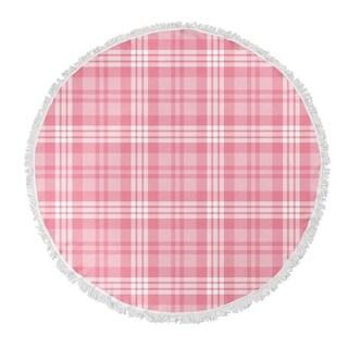 "Kavka Designs Be Mine Plaid Pink 60""X60"" Round Beach Towel"