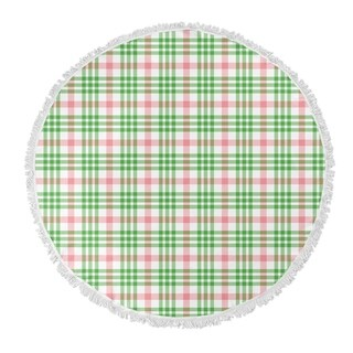 "Kavka Designs Candy Cane Plaid Red/Green 60""X60"" Round Beach Towel"