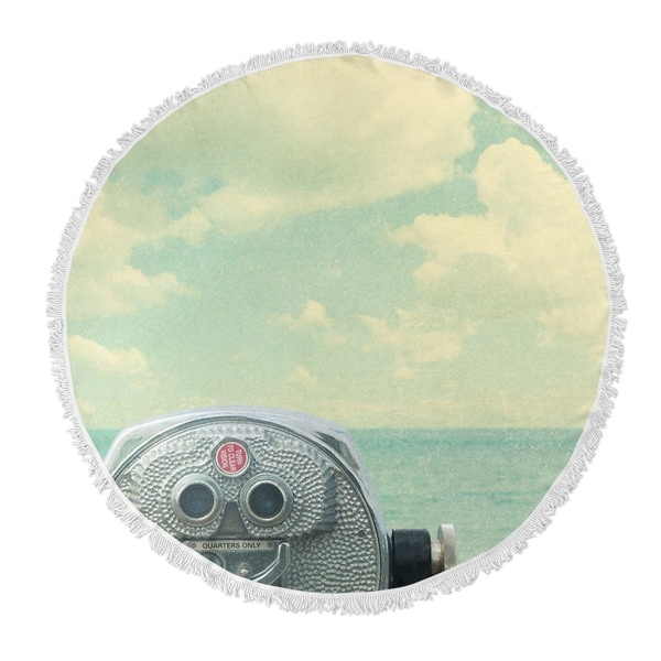 """Kavka Designs Way Out There Blue/ Grey/ Red 60""""X60"""" Round Beach Towel"""