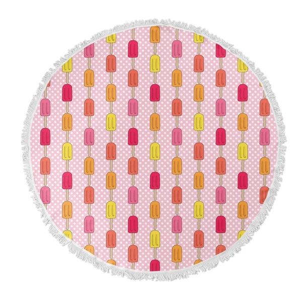 "Kavka Designs Icepops Pink/ Purple/ Tan/ Green 60""X60"" Round Beach Towel"