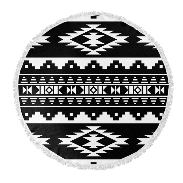 "Kavka Designs Cherokee Black/ White 60""X60"" Round Beach Towel"