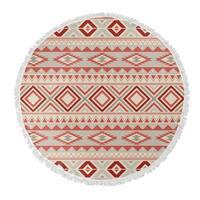 "Kavka Designs Sedona Red/ Tan/ Ivory 60""X60"" Round Beach Towel"
