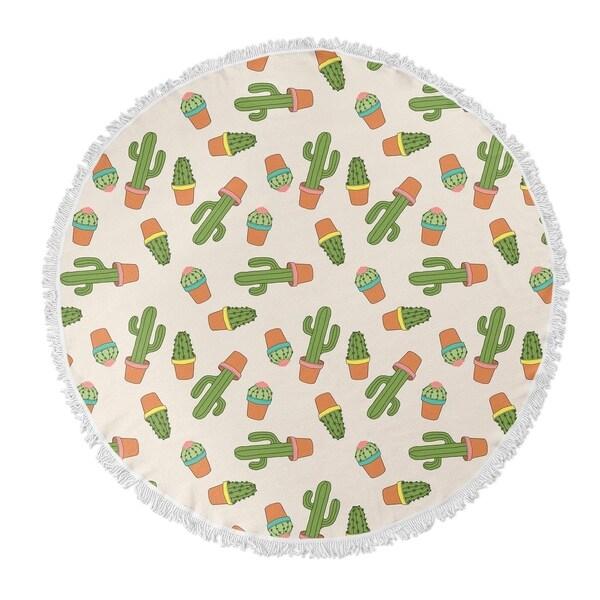"Kavka Designs Cactus Green/ Pink/ Ivory 60""X60"" Round Beach Towel"