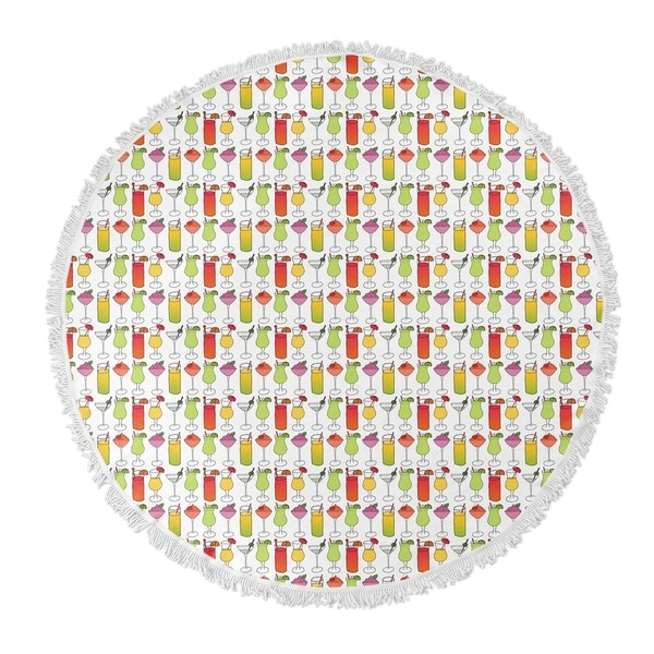 "Kavka Designs Cocktails Pink/ Yellow/ Green/ Purple 60""X60"" Round Beach Towel"