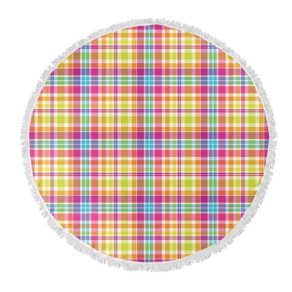 "Kavka Designs Tropical Plaid Pink/ Purple/ Yellow/ Blue 60""X60"" Round Beach Towel"