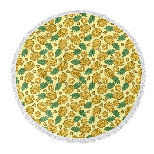 """Kavka Designs Pineapple Yellow 60""""X60"""" Round Beach Towel"""