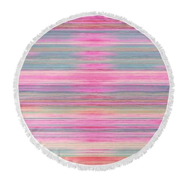 "Kavka Designs Abstract Sunset Pink/ Purple/ Blue 60""X60"" Round Beach Towel"