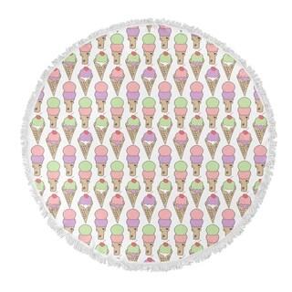 "Kavka Designs Ice Cream Pink/ Purple/ Tan/ Green 60""X60"" Round Beach Towel"