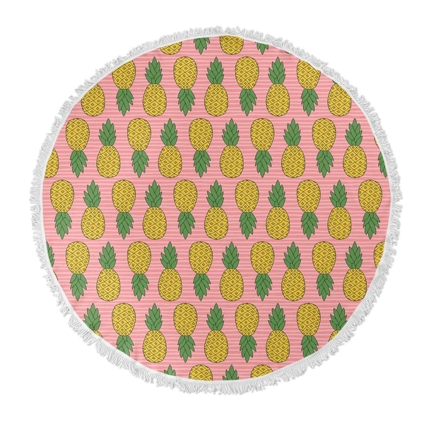 "Kavka Designs Pineapple Pink/Yellow 60""X60"" Round Beach Towel"