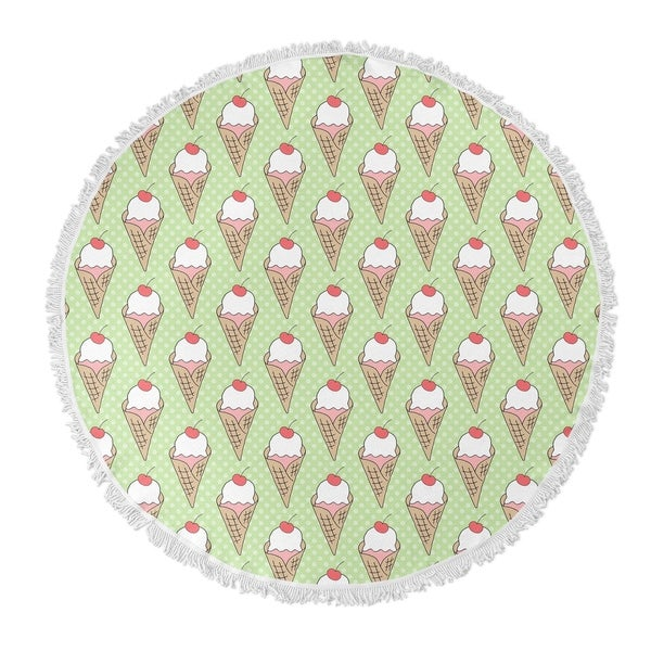 "Kavka Designs Ice Cream Green 60""X60"" Round Beach Towel"
