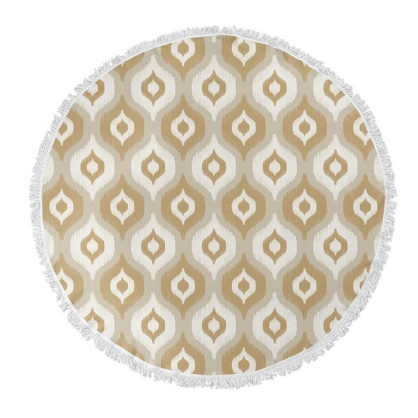 "Kavka Designs Harmony Tan/ Ivory/ Gold 60""X60"" Round Beach Towel"