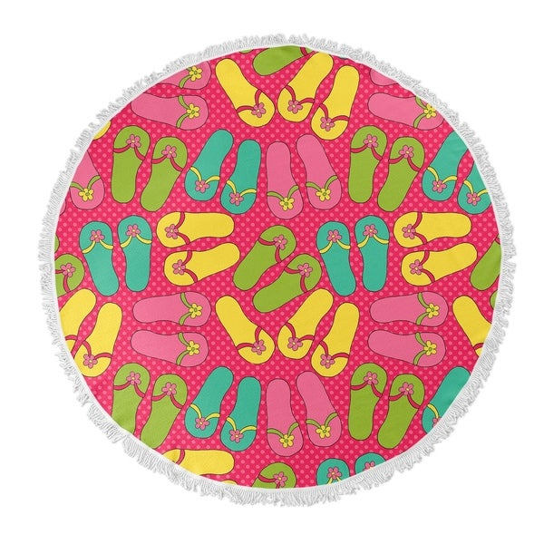"Kavka Designs Sandles Pink/ Yellow/ Blue/ Green 60""X60"" Round Beach Towel"