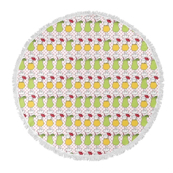 "Kavka Designs Cocktails Pink/ Yellow/ Green 60""X60"" Round Beach Towel"
