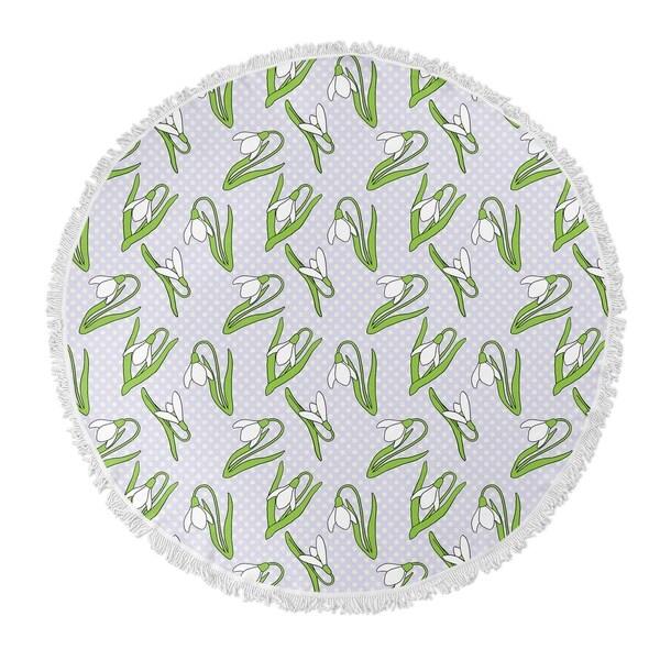 "Kavka Designs Mar Floral Green 60""X60"" Round Beach Towel"