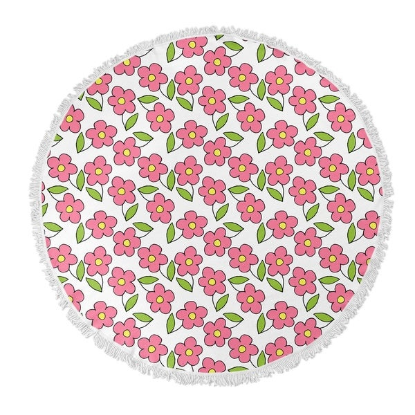 "Kavka Designs Planting Pink/Green 60""X60"" Round Beach Towel"
