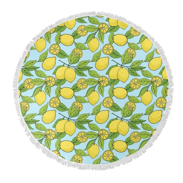 "Kavka Designs Lemons Blue/ Yellow 60""X60"" Round Beach Towel"