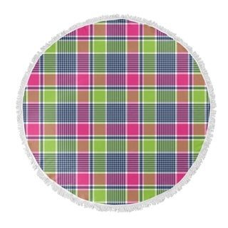 "Kavka Designs Love Potion Plaid Pink/Green 60""X60"" Round Beach Towel"