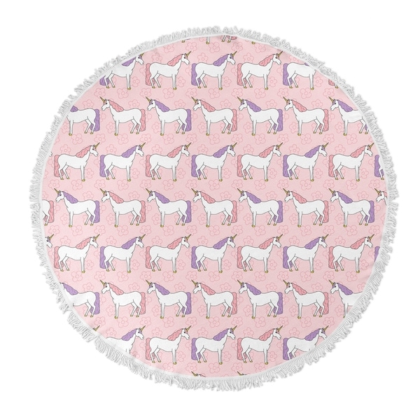 "Kavka Designs Unicorns Pink/Purple 60""X60"" Round Beach Towel"