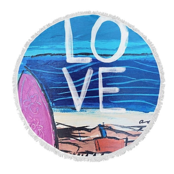 "Kavka Designs All You Need Is Love and The Beach Blue/ Purple 60""X60"" Round Beach Towel"