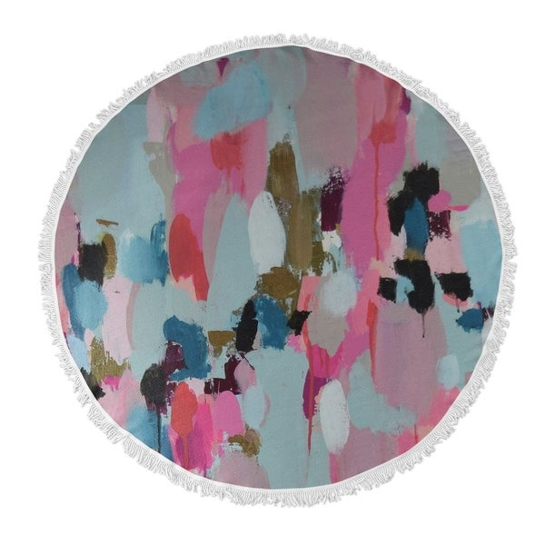 "Kavka Designs Pantone Pushing Black/ Pink/ Blue 60""X60"" Round Beach Towel"