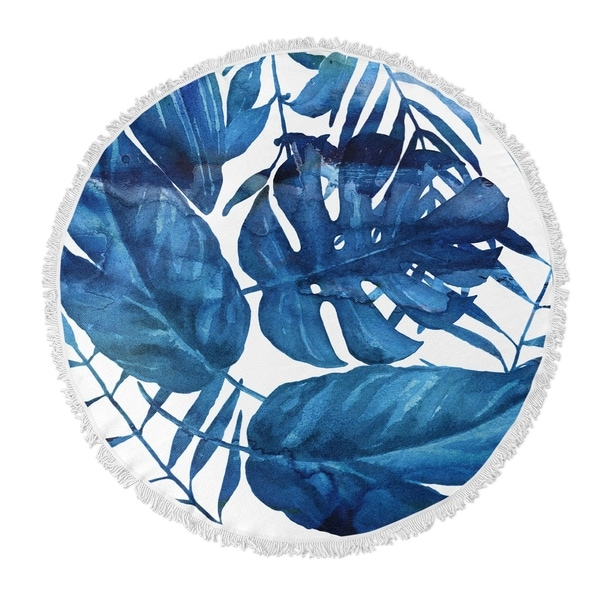 "Kavka Designs Leaf Blue 60""X60"" Round Beach Towel"