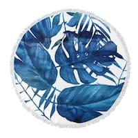 "Kavka Designs Leaf Blue 60""X60"" Round Beach Towel"