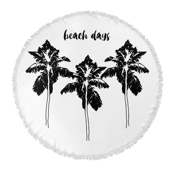 "Kavka Designs Beach Days BW Black/ White 60""X60"" Round Beach Towel"