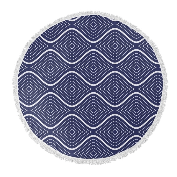 "Kavka Designs Flowing Ogee Blue/ White 60""X60"" Round Beach Towel"