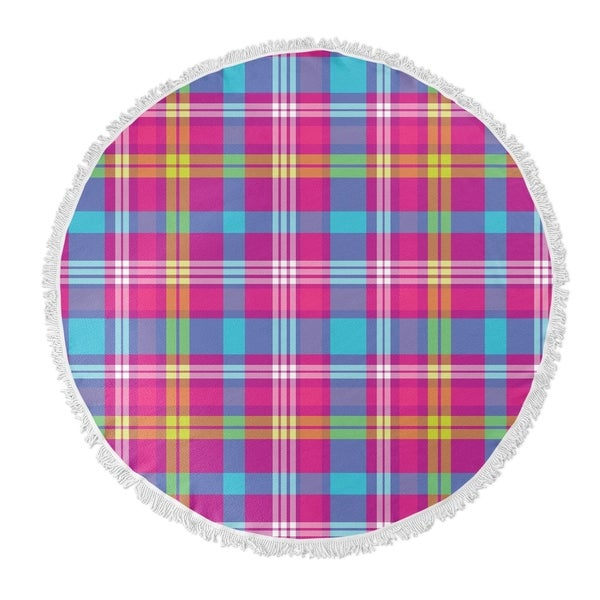 "Kavka Designs Tropical Plaid Purple/Blue 60""X60"" Round Beach Towel"