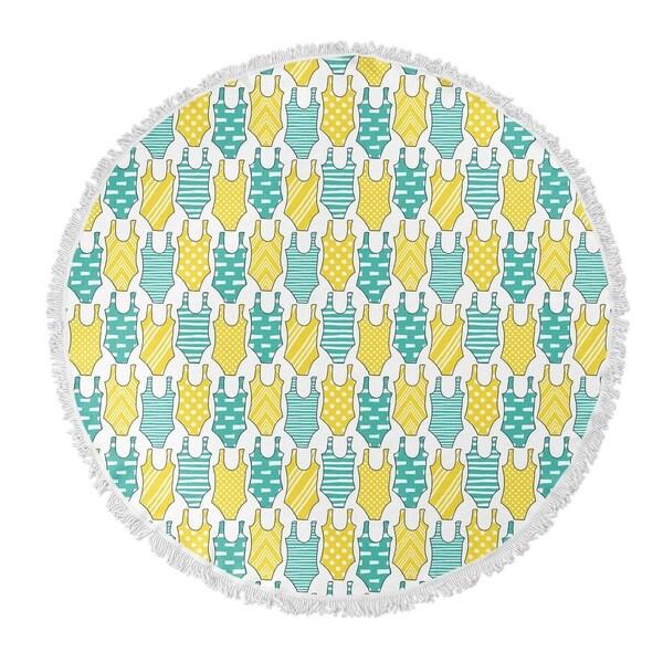 """Kavka Designs Swimming Turquoise/Yellow 60""""X60"""" Round Beach Towel"""