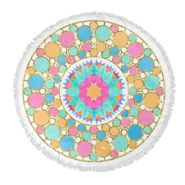 "Kavka Designs Let it Pop Blue/ Gold/ Pink 60""X60"" Round Beach Towel"