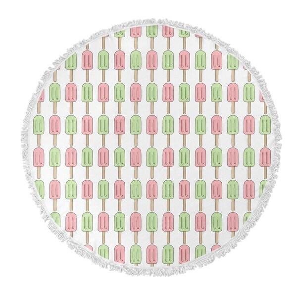 "Kavka Designs Ice Cream Green/Pink 60""X60"" Round Beach Towel"