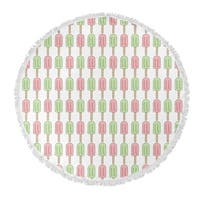 "Kavka Designs Ice Cream Green/Pink 60""X60"" Round Beach Towel"