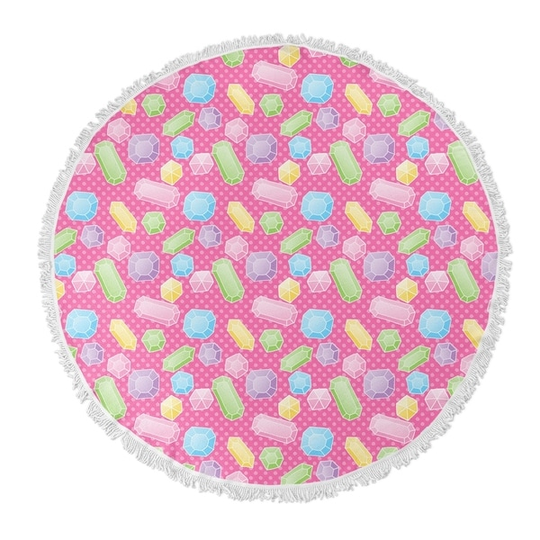 "Kavka Designs Gems Pink/ Blue/ Green/ Purple 60""X60"" Round Beach Towel"