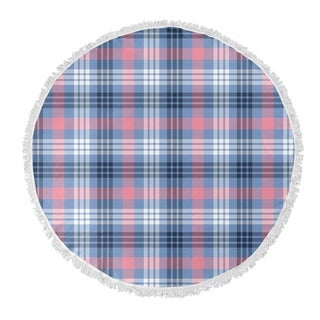 "Kavka Designs Feb Plaid Pink/Blue 60""X60"" Round Beach Towel"