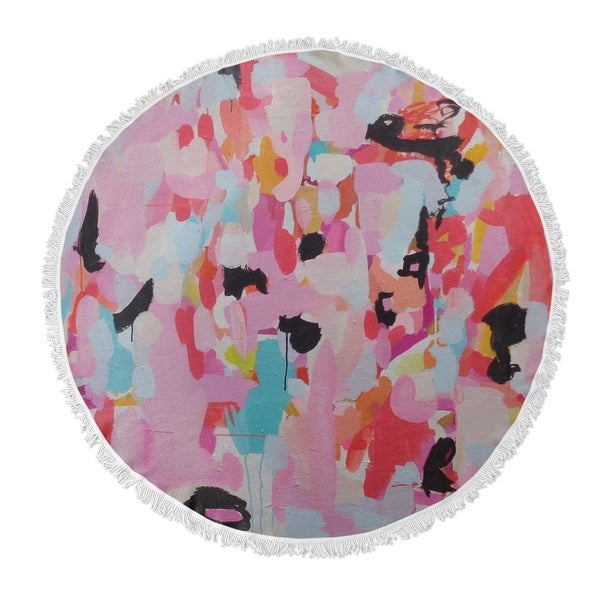 "Kavka Designs Charm Dripper Pink/ Blue/ Black/ Red 60""X60"" Round Beach Towel"