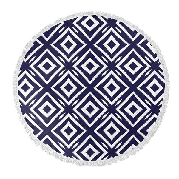"Kavka Designs Square Peg Blue/ White 60""X60"" Round Beach Towel"