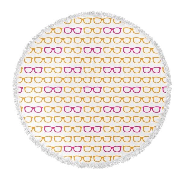 """Kavka Designs Sunshine Orange/Pink 60""""X60"""" Round Beach Towel"""