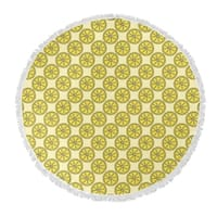"Kavka Designs Lemons Yellow 60""X60"" Round Beach Towel"