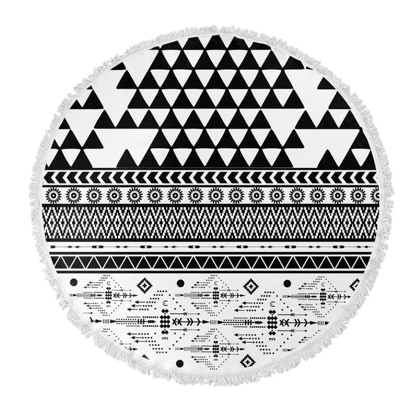 "Kavka Designs and Moroccan Grey/ White/ Black 60""X60"" Round Beach Towel"