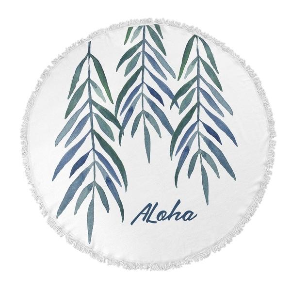 "Kavka Designs Aloha Blue/ Green 60""X60"" Round Beach Towel"