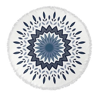 "Kavka Designs Flower Power Grey/ Blue 60""X60"" Round Beach Towel"