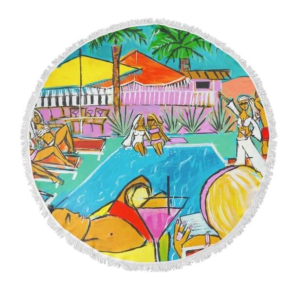 "Kavka Designs It's a Mod Mod Life Blue/ Yellow/ Green/ Red 60""X60"" Round Beach Towel"