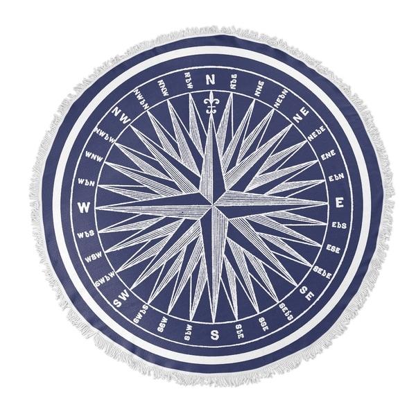 "Kavka Designs Nautical Compass Blue/ White 60""X60"" Round Beach Towel"