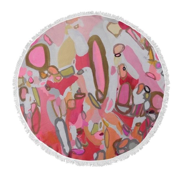 "Kavka Designs Pretty Pills Pink/ Red/ Tan/ Brown 60""X60"" Round Beach Towel"